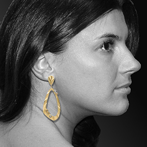 Ashleigh wearing K.Mita's Open Pebble Drop Earrings | K.Mita Design
