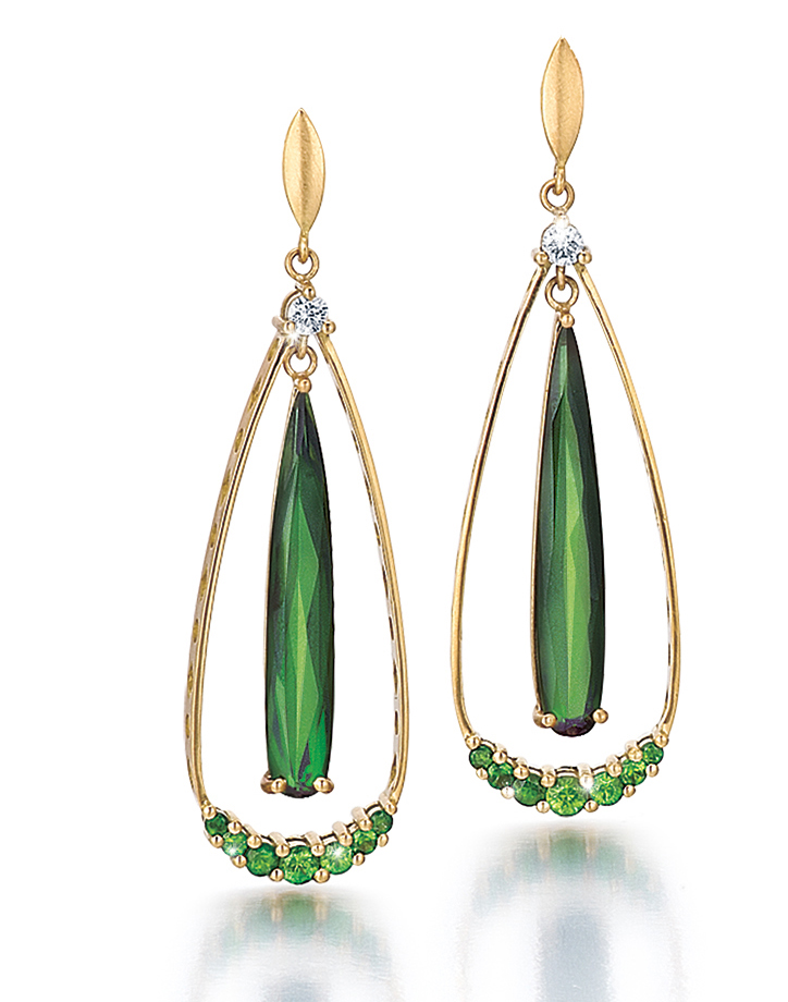 Green Tear Drop Earrings Handmade by K.Mita | 8.01ct Green Tourmaline | K.Mita Design