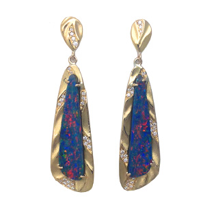 Blue Fire Opal Earrings | Handmade Earrings from K.Mita Design