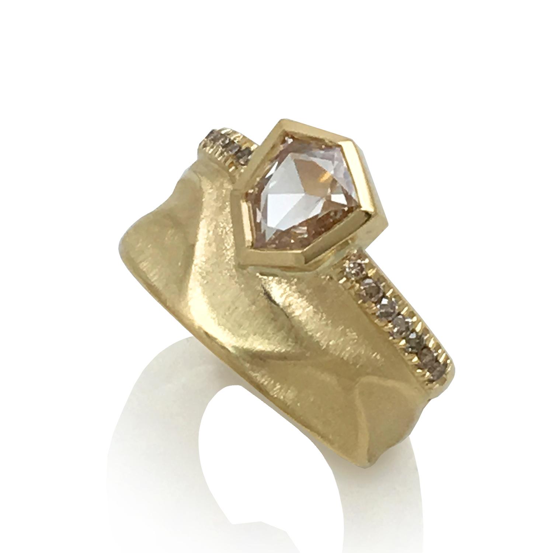 Crown Ring from K.Mita Design | 18k Yellow Gold | Champaigne Rose Cut Diamonds | Brown Diamonds