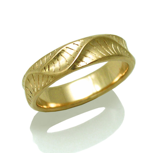 Men's Wave Crest Ring   Yellow Gold   Handmade Bridal Jewelry by K.MITA