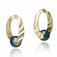 Holding You Earrings   Gold and Tahitian Pearl   Modern Jewelry by K.MITA