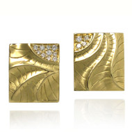 Rectangular Puzzle Earrings | Gold and Diamonds | Fine Art Jewelry by K.MITA