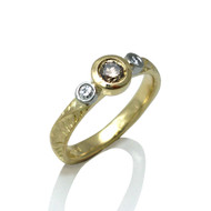 Three Stone Ring   Gold and Brown/White Diamonds   Handmade Fine Jewelry by K.MITA