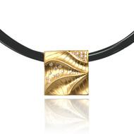 Dune Square Pendant |  Gold and Diamonds | Fine Art Jewelry by K.MITA