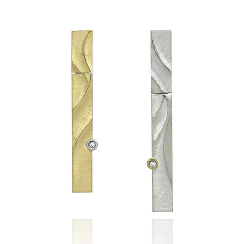 Echo Asymmetrical Earrings (Long Silver Version)  | Gold and Silver, Diamond | Fine Art Jewelry by K.MITA
