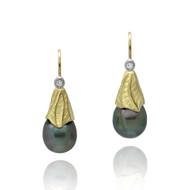 Midori Earrings | Gold and Tahitian Peal | Handmade Fine Jewelry by K.MITA