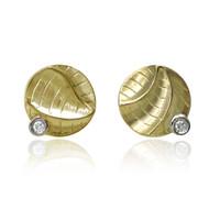 Gold Small Round Studs   Gold and Diamonds   Unique Fine Jewelry by  K.MITA