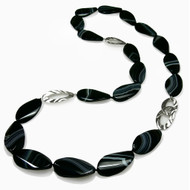 Stone Necklace | Sterling Silver and Stripe Agate | Modern Jewelry by K.MITA
