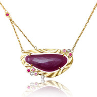 Red Island Pendant | Gold, Ruby and Pink Sapphire | Handmade Fine Jewelry by K.MITA