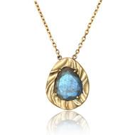 Ocean Dream Pebble Pendant | Gold and Labradorite | Modern Fine jewelry by K.MITA