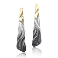 Diamond Ombre Earrings | Gold and Silver, Diamonds | Handmade Fine Jewelry by K.MITA