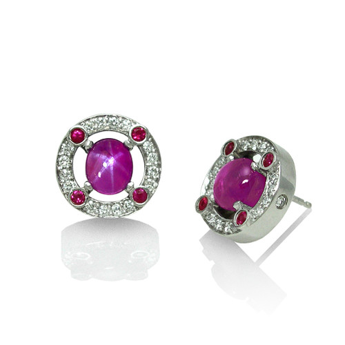 Keiko Mita's Star Ruby Earrings | Custom Order | Handmade Designer Jewelry