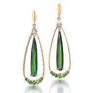 Green Tear Drop Earrings | Gold, Green Tourmaline and Green Garnet | Modern Fine Jewelry by K.MITA