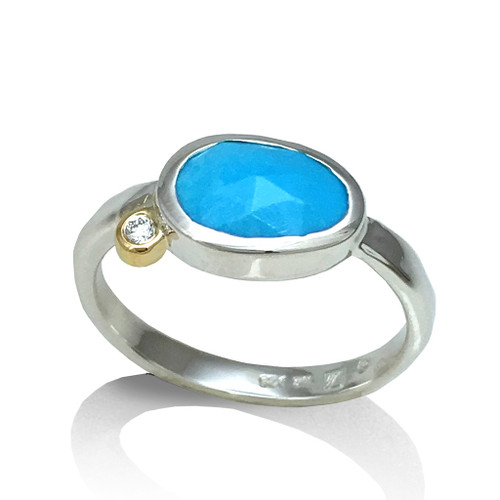 Turquoise Pebble Ring, Modern Stone Jewelry from K.Mita