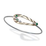 Open Pebble Bracelet Gold and Silver, Green Garnet|  Modern Art Jewelry by K.MITA