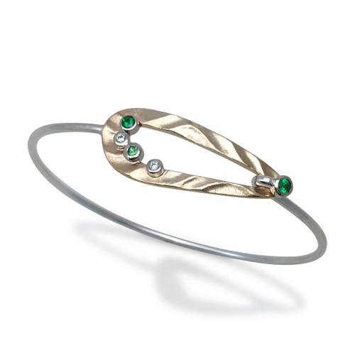 Open Pebble Bracelet Gold and Silver, Green Garnet   Modern Art Jewelry by K.MITA
