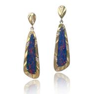 Blue Fire Opal Earrings | Gold, Opal and Diamonds |Fine Art Jewelry by K.MITA