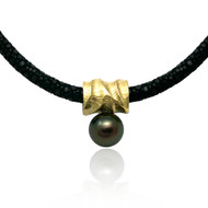 Reversible Pearl Pendant | Gold and Silver, Tahitian Pearl|  Fine Art Jewelry by K.MITA