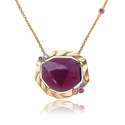 Golden Sweetbrier Pendant with 15ct Pink Tourmaline, Fine Art Jewelry by K. Mita