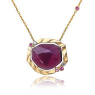 Golden Sweetbrier Pendant | Gold, Pink Tourmaline with Pink Sapphires|  Handmade Fine Jewelry by K.MITA