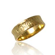 Washi Concaved Ring | Textured Gold | Modern Fine Jewelry by K.MITA