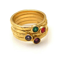 Washi Stackable Rings | Textured Gold and Gemstones | Handmade Fine Jewelry by K.MITA
