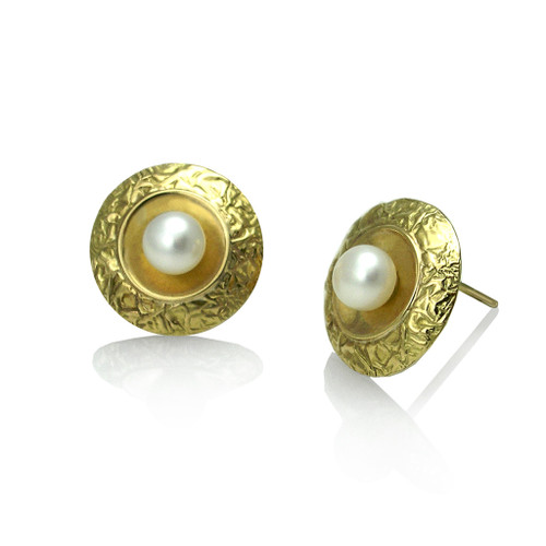 Washi Disk Pearl Studs by K. Mita, Textured Gold Earrings