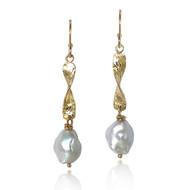Twizzle Pearl Earrings  | Gold and Keshi Pearl | Handmade Fine Jewelry by K.MITA