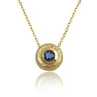 Washi Round Pendant | Gold and Blue Sapphire | Handmade Fine Jewelry  by K.MITA