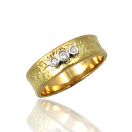 Trio Concaved Ring | Gold and Diamonds| Handmade Fine Jewelry by K.MITA