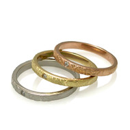 Washi Yuki Rings by K. Mita, Textured Gold Bands.