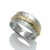 Double Band Ring | Gold and Silver, Diamond|  Handmade Fine Jewelry by K.MITA