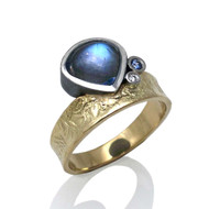 Blue Moon Ring |Gold/Oxidized Sterling Silver, Moonstone |  Modern Fine Jewelry by K.MITA