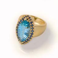 Blue Topaz Ring | Gold, Blue Topaz and Blue Sapphires | Handmade Designer Jewelry by K.MITA
