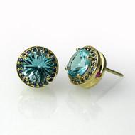 Round Studs | Gold, Blue Topaz  and Blue Sapphires | Handmade Designer Jewelry by K.MITA