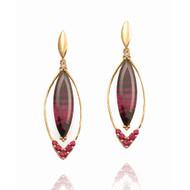 Long Marque Shaped Earrings   Gold, Rhodolite Garnet and Rubies   Handmade Designer Jewelry by K.MITA