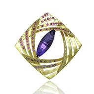 K.Mita's Anne Pin | Gold, Amethyst and Pink Sapphire | Handmade Fine Jewelry