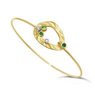 Pebble Bracelet III | 14K Yellow Gold and Green Garnets /Diamond | Handmade Fine Jewelry by K.MITA