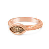 Marquesa Ring | Marquise Brown Diamond in 18K Rose Gold | Handmade Bridal Jewelry by K.MITA