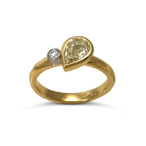 Dew Drop Diamond Ring | Pear Shaped Light yellow diamond in 18K Yellow Gold | Handmade Fine Jewelry by K.MITA