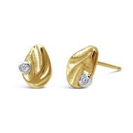 Dune Pebble Studs | 14K Yellow Gold with Diamond | Handmade Fine Jewelry