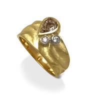 Rebecca Ring | 18K Yellow Gold, Pear Shaped Brown Diamond, Write Diamonds | Handmade Fine Jewelry by K.MITA