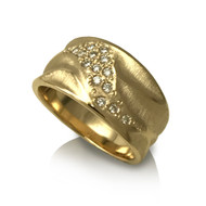 K.Mita Wide Dune Ring | Yellow Gold | Bridal | Sand Dune Collection