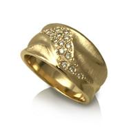 Wide Dune Ring | Yellow Gold and Diamonds | Handmade Fine Jewelry by K.MITA