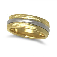 K.Mita Rivulet Band | Yellow and White Gold| Handmade Fine Jewelry