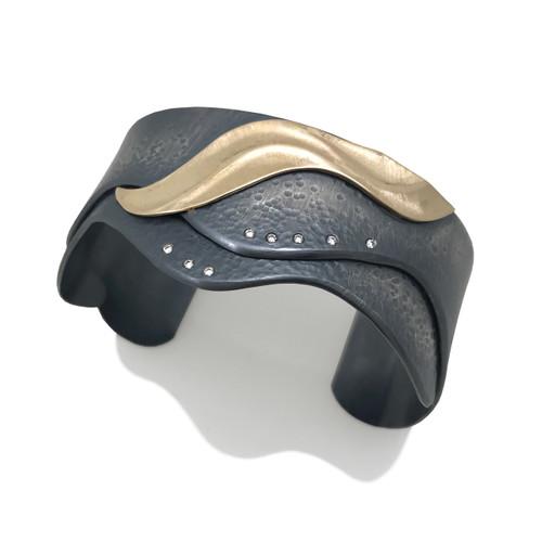 Shoreline Cuff II   Gold and Silver, Diamonds   Handmade Art Jewelry by K.MITA