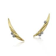 Crescent Moon Climber Earrings   Gold and Diamonds   Handmade Fine Jewelry by K.MITA