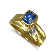 K.Mita's Geo Ring from her Sand Dune Collection | Blue Sapphire | Handmade Designer Jewelry