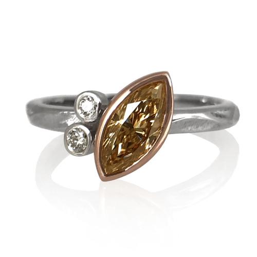 K.Mita's Elle Ring | Champagne Diamond and White Diamonds | Handmade Fine Jewelry